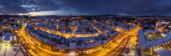 Winterthur im Winter Aerial 240°